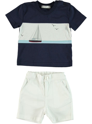 NAVY BLUE SAILOR SHIRT AND SHORTS SET