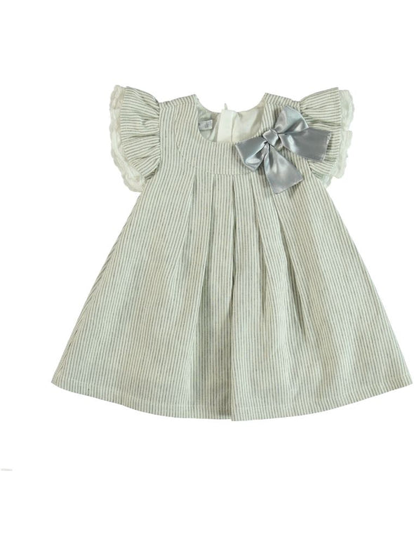 PLEATED CAP-SLEEVE DRESS WITH BOW