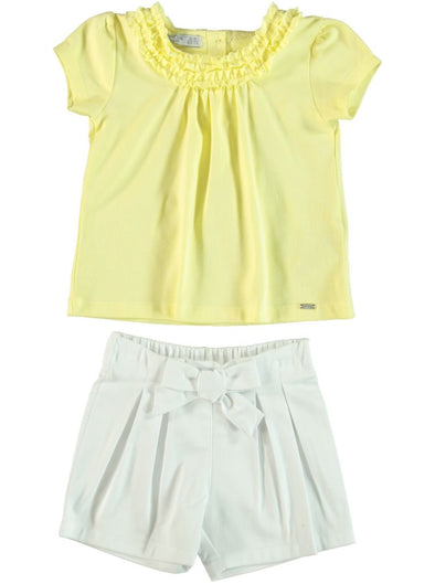 YELLOW FRILL T-SHIRT AND SHORTS SET
