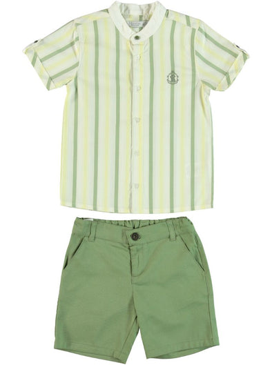 GREEN STRIPE SHIRT & SHORTS SET