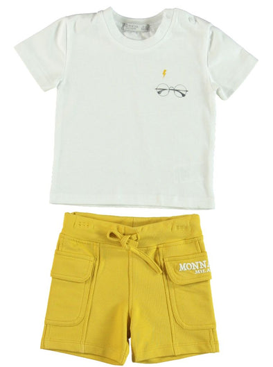 YELLOW UTILITY SHORTS SET