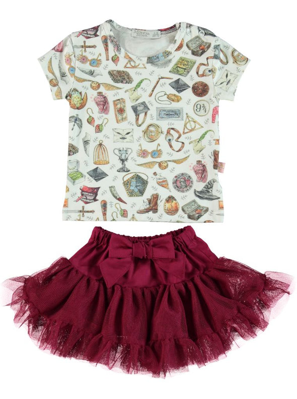 WHIMSICAL PRINT T-SHIRT & TULLE SKIRT