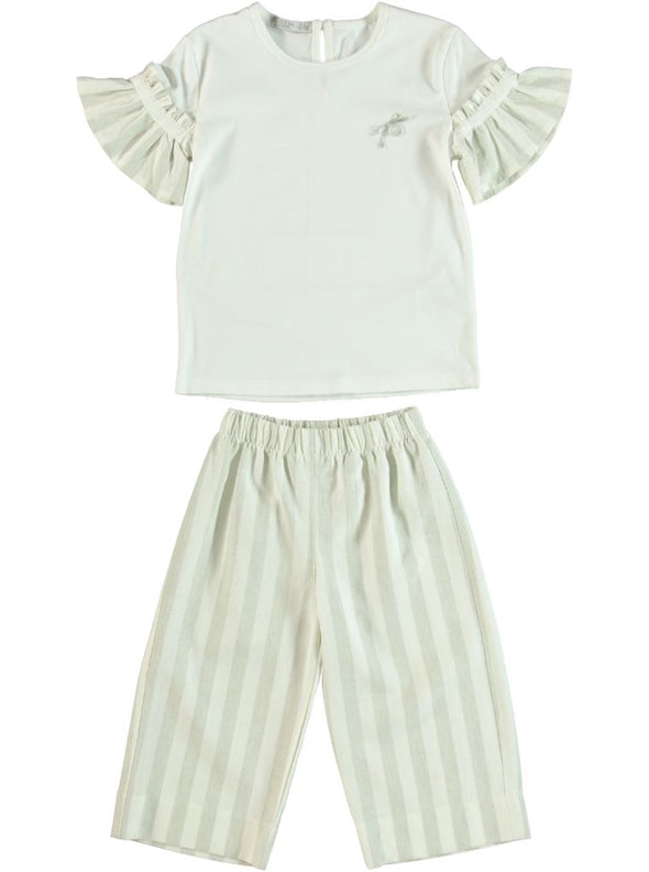 GREY STRIPE BLOUSE & CULOTTES SETS