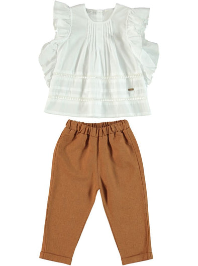 FRILL SLEEVE BLOUSE & PANTS SET