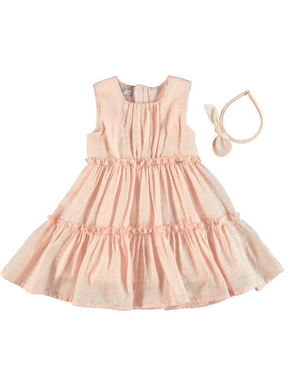 PINK TIERED DRESS WITH HEADBAND