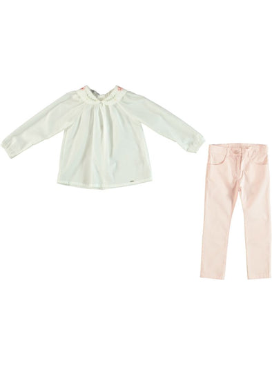 ROSE COLLAR BLOUSE & PANTS SET