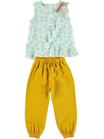 TEAL LEAF & MUSTARD PANTS SET