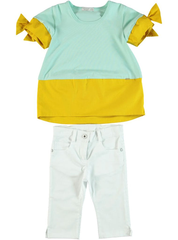 MUSTARD & TEAL CAPRI SET