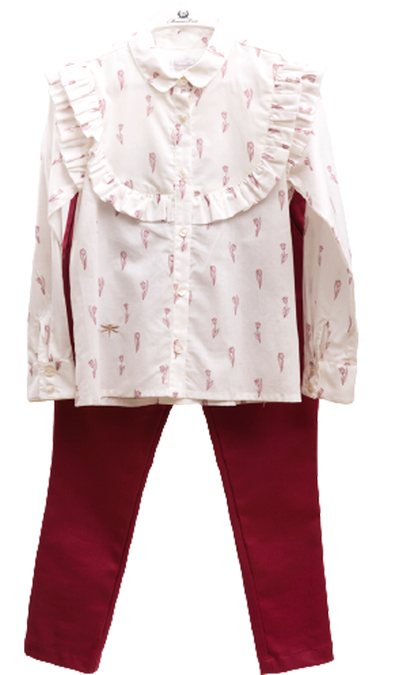 ROSE PRINT SHIRT AND PANTS SET