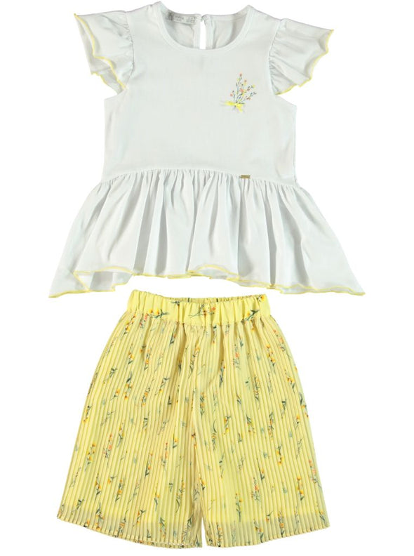 WHITE & YELLOW TIER BLOUSE & PLEATED CULOTTES