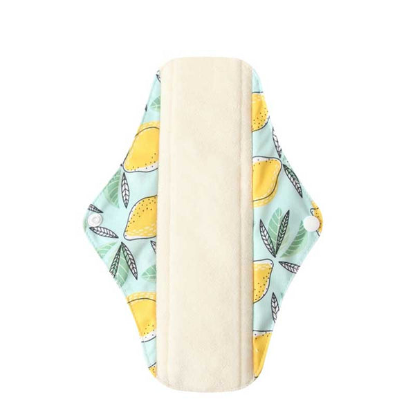 Serviette hygiénique lavable flux normal motif citron
