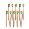 10 brosses à dents bambou arc en ciel