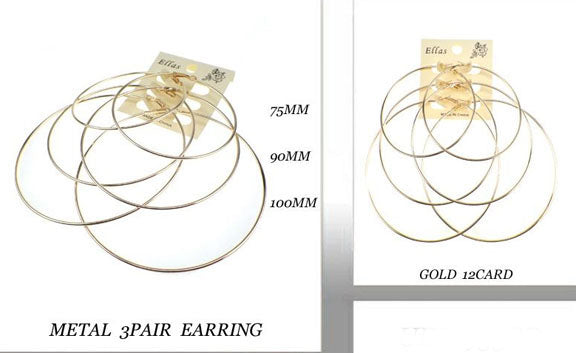 3 Pair Gold Hoops