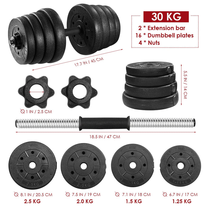 A Pair of 30kg Dumbbell Weight Set