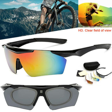 5 Lens Anti-UV Cycling Outdoor Sports Goggles Bike Polarized Glasses Sunglasses