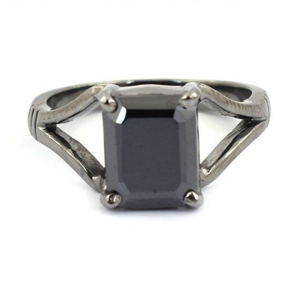 Certified Emerald Shape Black Diamond Solitaire Ring, Promise Ring, Birthday Gift Size- 3.50 to 6.00 Carat
