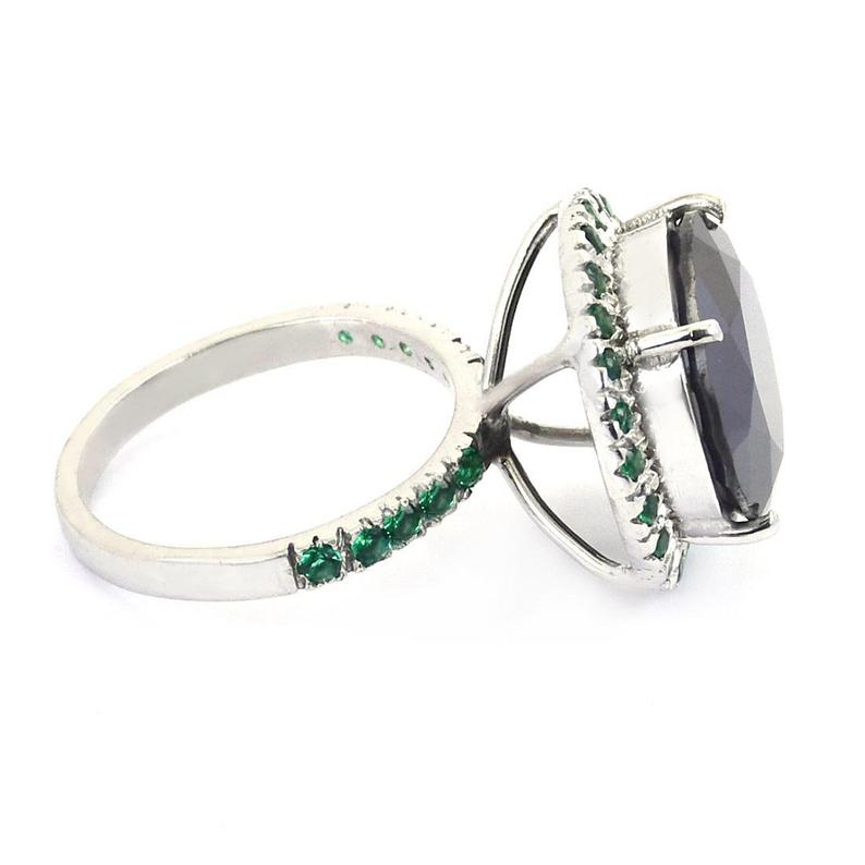 Round Shape Black Diamond Solitaire Ring With Green Emerald in Sterling Silver, Black Diamond 3.00 TO 6.00 Carat