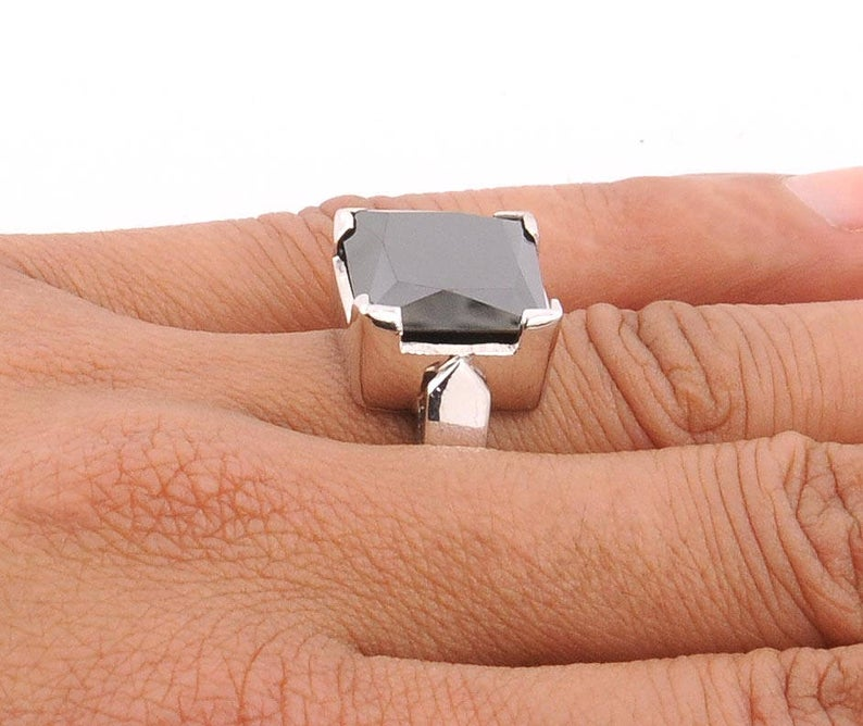 3.50 TO 6.00 Carat Square Brilliant Cut Black Diamond Solitaire Ring, Ideal Engagement Ring, Promise Ring, Wedding Ring