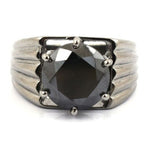 3.00 To 6.00 Carat Round Brilliant Cut Black Diamond Ring, Certified Black Diamond for Wedding Ring, Engagement Ring