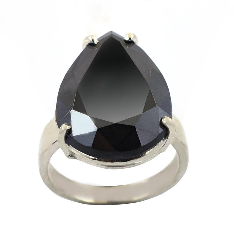 Pear Shape Black Diamond Solitaire Ring, Certified Black Diamond Ring for Wedding Ring, Promise Ring 3.00 to 6.00 Carats