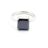 3.00 to 6.00 Carat Certified Square Black Diamond Solitaire Ring, Engagement Ring, Wedding Gift, Birthday Gift
