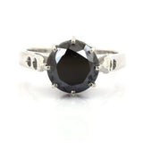 3.50 TO 6.00 Carat Round Brilliant Cut Black Diamond Solitaire Ring, Ideal Engagement Ring, Promise Ring, Wedding Ring
