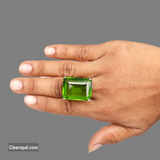 Chunky Faceted Green Amethyst Ring, 925 Sterling Silver Emerald Cut Amethyst RIng Jewelry, Available 8ct To 15ct