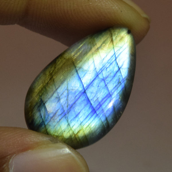 Certified Rainbow Color Labradorite Loose Gemstone 13.50 Ct. Brilliant Pear Cabochon Labradorite Gemstone Jewelry Making DG-520