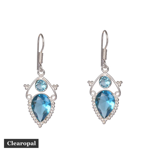 1.50 to 2 grams Aquamarine Gemstone Earrings, Sterling Silver Earrings,