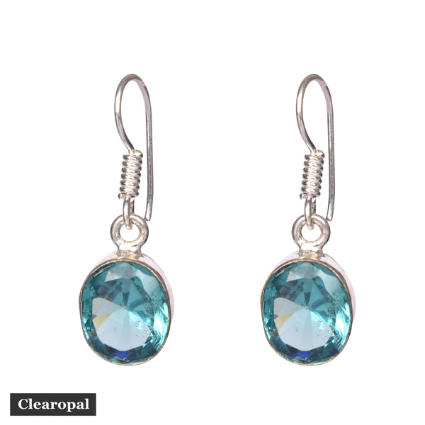 Silver hoop earrings with Blue Aquamarine Gemstone 1.50 to 2 grams Stone King Sterling Silver Aquamarine Dangle Earrings