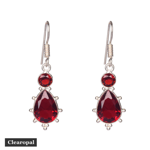 1.50 to 2 grams Ruby Earrings Sterling Silver Two Tier Ruby Earring, Two Ruby Round Pear Earring, Large Real Ruby Earring, Drop Dangle Earring, July Birthday Gift
