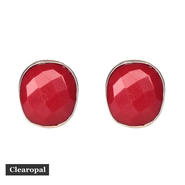 1.50 to 2 grams Ruby Stud Earrings, Red Ruby Gemstone Studs Oval Shape, July Birthstone, Screw Backs Optional