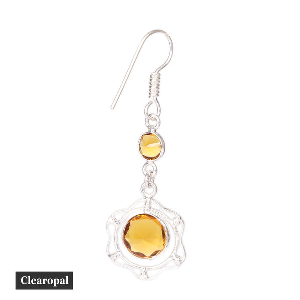 1.50 to 2 Grams Round Shape Citrine 925 Sterling Silver Dangle Earrings- Beautiful Gift For Women - Designer Gemstone Jewelry