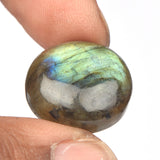 Natural Bi- Color Labradorite Stone, Round Cabochon Loose Labradorite Gemstone for Pendant Jewelry, 25 To 50 Carat Available