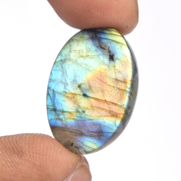 Oval Shape Labradorite Loose Gemstone, Top Quality Cabochon Bi-Color Labradorite for Making Pendant, Available Sizes-25 to 50 Carat