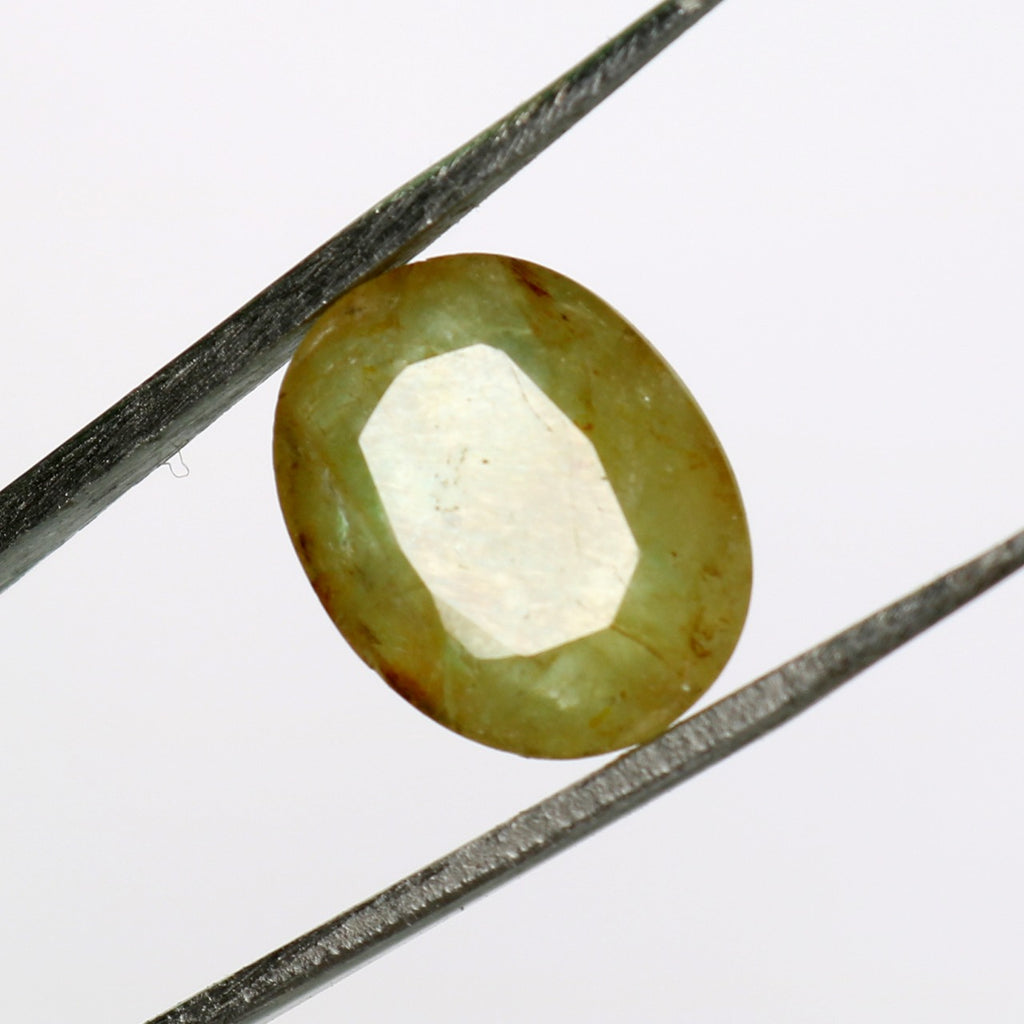 May Birthstone 7.00 Carat. Yellow Brazilian Emerald Oval Faceted Cut Loose Gemstone for Pendant