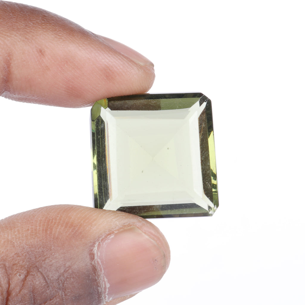 Green Amethyst Faceted Loose Stone, Lab Created Square Shape Amethyst Stone, Size-20 to 30 Carat
