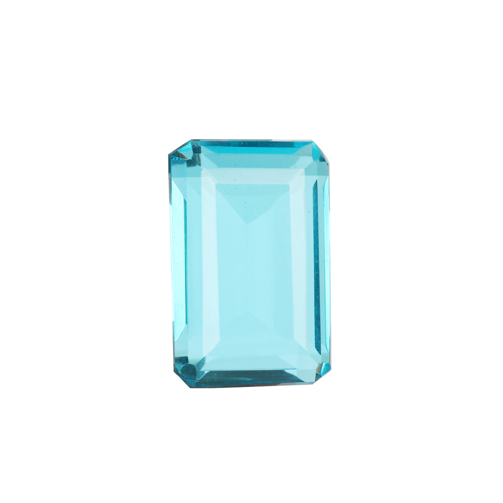 AAA Emerald Shape Swiss Blue Topaz Loose Gemstone from Brazil, Faceted Lab Created Topaz Stone for Jewelry, Available- 40 to 80 Carat