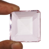 Square Shape Baby Pink Topaz Gemstone, Lab Created Faceted Pendant Size Loose Topaz Stone, 30 to 50 Carat