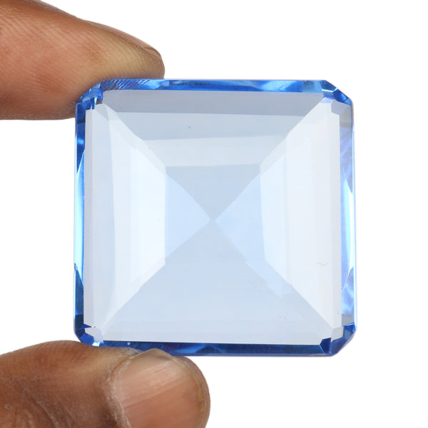 Lab Created Blue Topaz Faceted Gemstone, Square Shape Topaz, Translucent Topaz Stone for Jewelry, Sizes-80 to 120 Carat