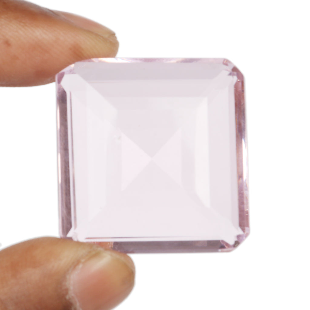 Pink Topaz Square Shape Faceted Gemstone, Lab Created Translucent Loose Stone, Multiple Sizes to Choose 40 to 80 carat