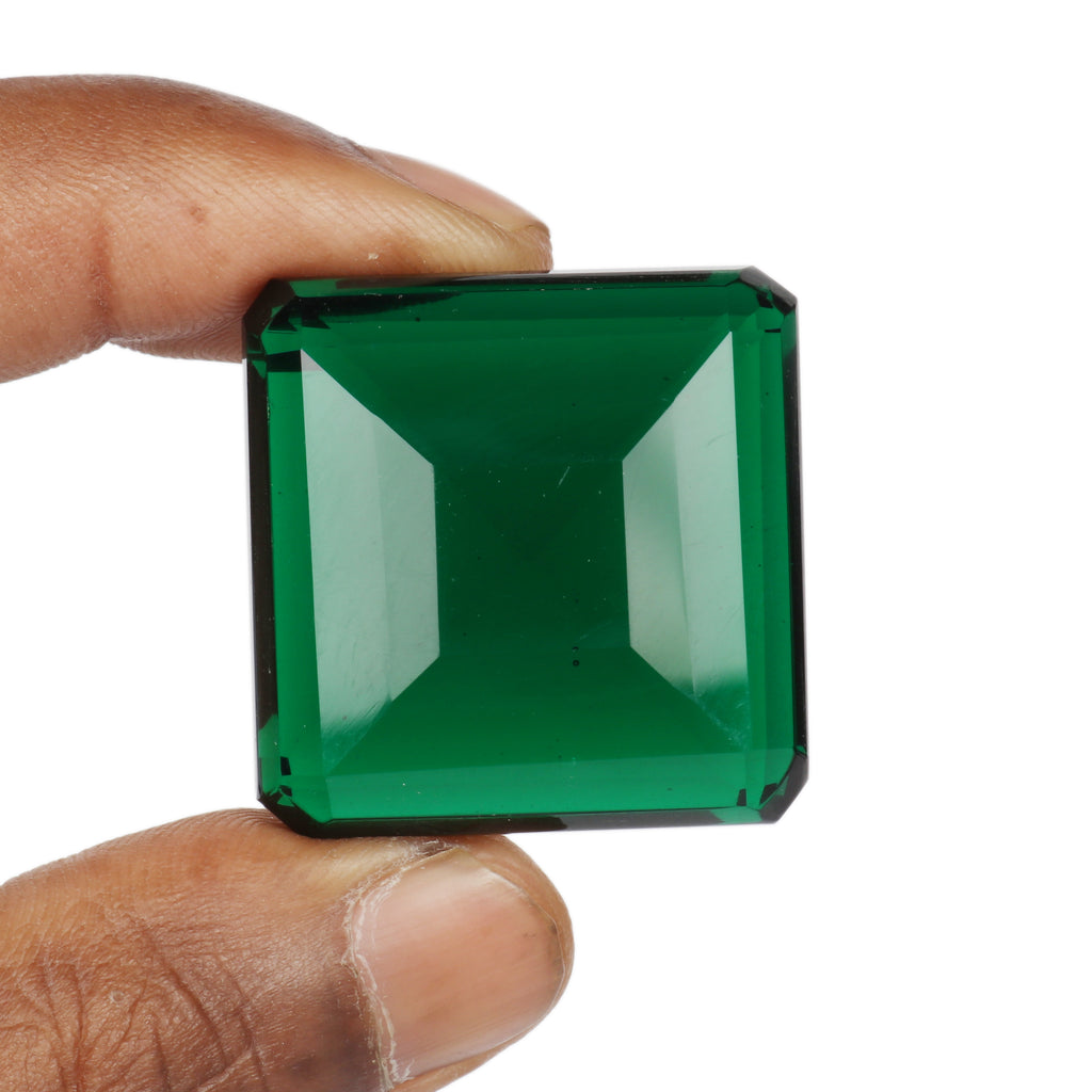 Green Amethyst Square Shape Gemstone, Faceted Lab Created Dark Green Color Amethyst February Birthstone, Available 40 to 70 Carat