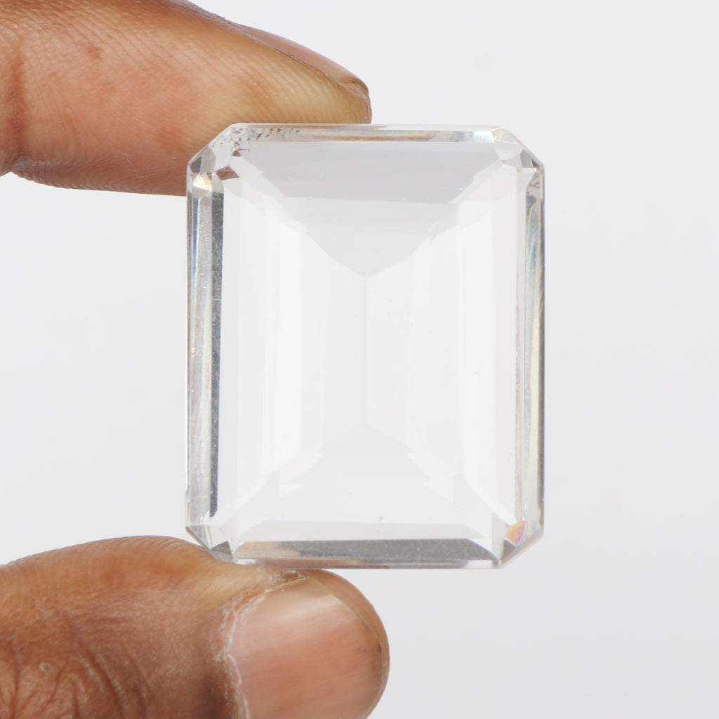 AA+ Grade Faceted White Topaz Loose Jewelry Gemstone, Lab Created Emerald Shape White Color Topaz Stone, Sizes-40 to 60 Carat