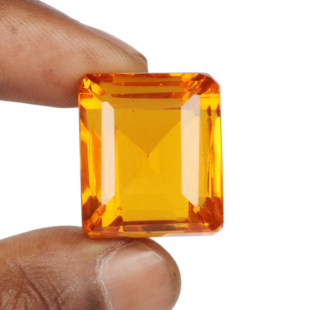 Top Quality Yellow Citrine Loose Gemstone, Emerald Shape Faceted Beautiful Gemstone for Making Pendant Jewelry, Available-30 to 60 Carat
