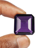 30 to 60 Carat Brazilian Violet Amethyst Loose Gemstone, Square Shape Lab Created Faceted Amethyst Stone