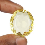Lab Created Yellow Citrine Loose Stone, Oval Shape Faceted Citrine Gemstone, Citrine Gemstone best for Jewelry, Multiple Sizes to Choose-30 to 50 Carat