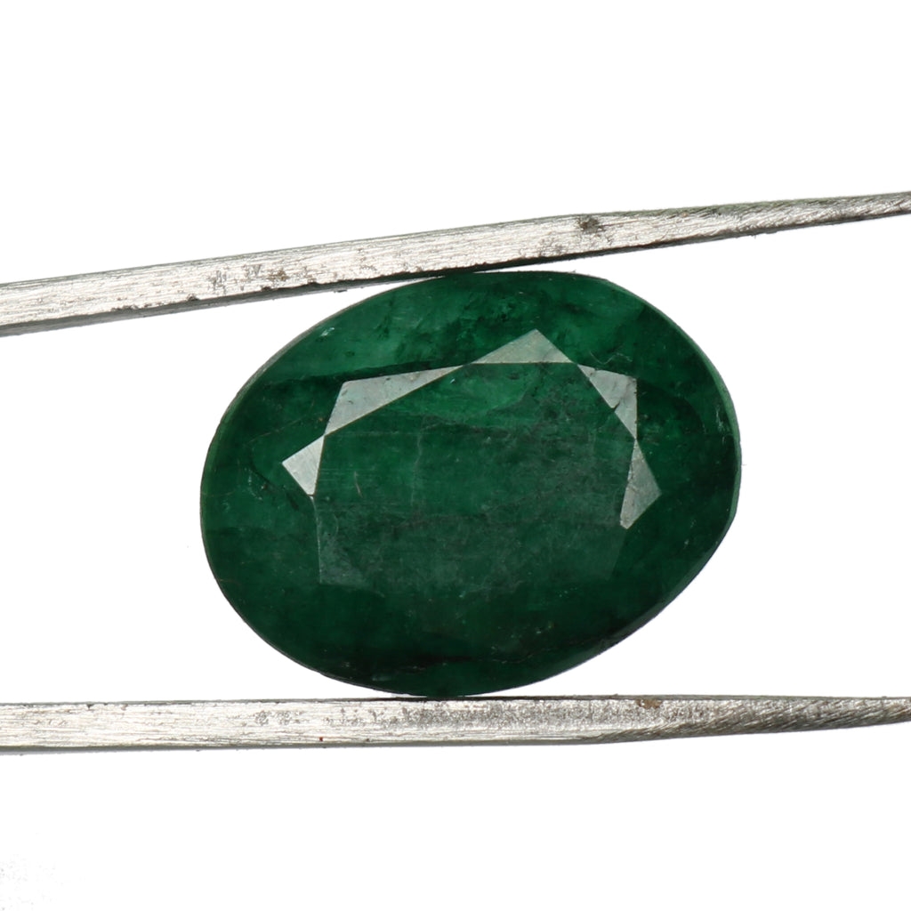 EGL Certified Natural Green Emerald Loose Gemstone, 8.50 Ct. Oval Cut Green Emerald Loose Gemstone For Ring LD-559