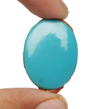 Certified Natural Oval Cabochon Blue Turquoise Loose Gemstone 24.50 Ct. Blue Turquoise Gemstone For Jewelry Making LN-286