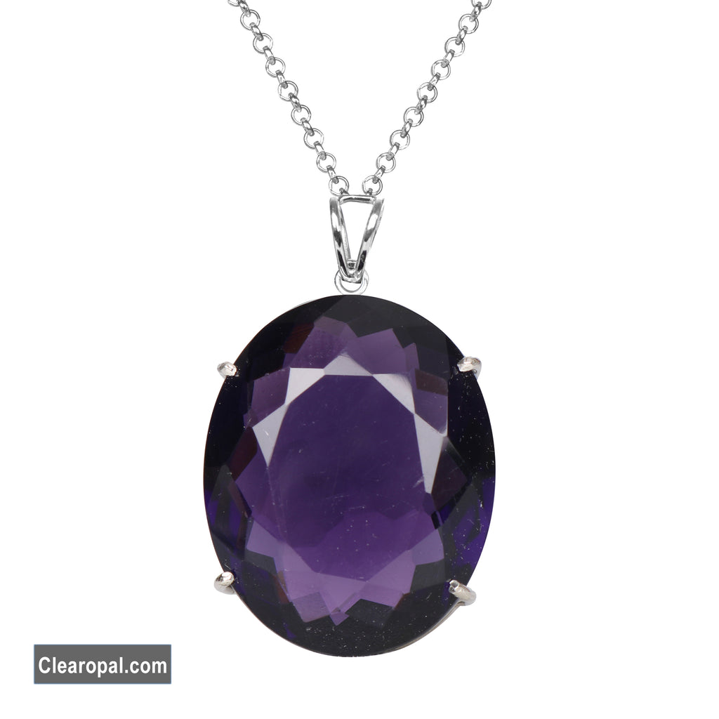 Oval Cut Top Quality Violet Amethyst Pendant In 925 Sterling Silver for women @ best price