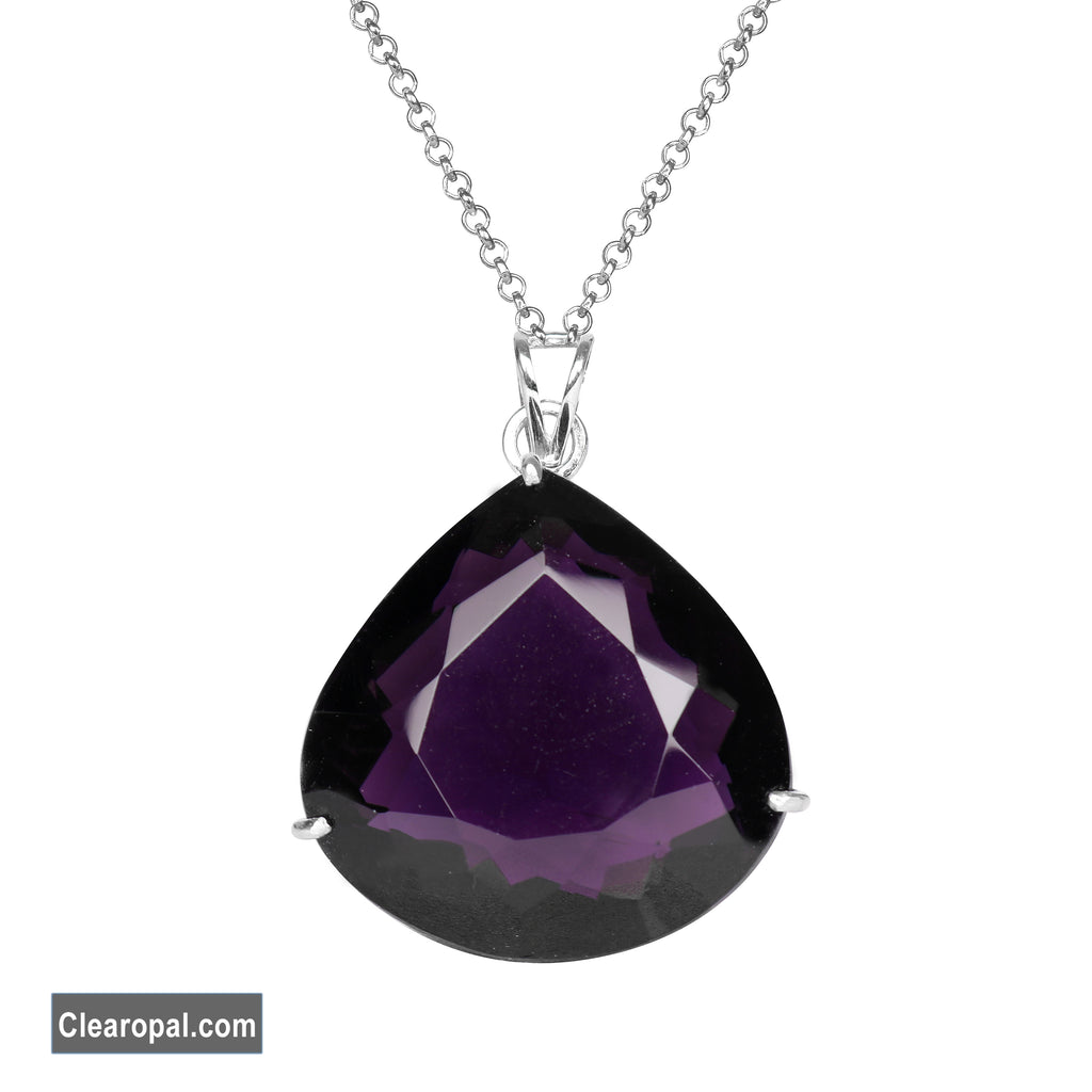 Pear Cut Top Quality Violet Amethyst Pendant In 925 Sterling Silver for women